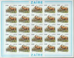 BUZIN / ZAIRE 1994 / FEUILLE COMPLETE   N O N   DENTELEE / 50 ANS DU PARC DE LA GARAMBA / COB 1454 - 1985-.. Oiseaux (Buzin)