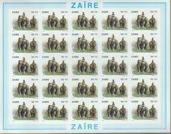 BUZIN / ZAIRE 1994 / FEUILLE COMPLETE   N O N   DENTELEE / 50 ANS DU PARC DE LA GARAMBA / COB 1453 - 1985-.. Oiseaux (Buzin)