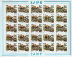 BUZIN / ZAIRE 1994 / FEUILLE COMPLETE   N O N   DENTELEE / 50 ANS DU PARC DE LA GARAMBA / COB 1452 - 1985-.. Oiseaux (Buzin)