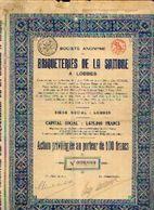 « Briqueteries De La Sambre à LOBBES SA» – Capital : 1.875.000 Fr - Action Privilégiée De 100 Fr - Industrie