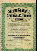 (ELISABETHVILLE) « Société Générale Africaine D'électricité - SOGELEC SA» – Capital : 213.333.000 Fr - – Action De ---> - Afrika