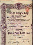 : (BRUXELLES) « Soc. Anonyme Belge De Tramways SA» – Capital : 3.500.000 Fr - – Action De Priorité De 500 Fr - Ferrocarril & Tranvías
