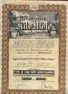 « Soc. Des Mines D'or De KILO-MOTO » – Capital : 230.000.000 Fr - – Titre De 5 Parts Bénéficiaires - Afrika
