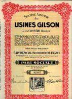 (LA CROYERE) « Usines Gilson SA» – Capital : 50.000.000 Fr – Part Sociale - Industrie