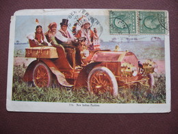 CPA New Indian Pastime USA CAR VOITURE INDIENS 1921 RARE Mais état Moyen - Indiani Dell'America Del Nord