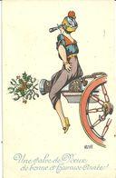 Une Salve De Voeux De Bonne Et Heureuse Annee Wa De May Femme Assise Sur Un Canon Lunette Telescopique - Humor