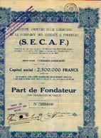 CUREGHEM - ANDERLECHT) « SA Pour L'élevage Et Le Commerce Des Animaux à Fourrure S.E.C.A.F.» - Capital 2.500.000 Fr --> - Agriculture