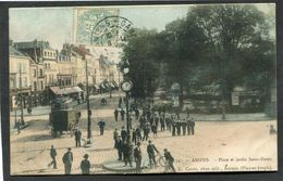 CPA - AMIENS - Place Et Jardin Saint-Denis, Très Animé - Amiens