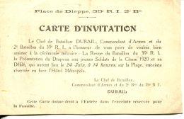 N°61166 -carte D'invitation Dieppe -Chef De Bataillon Dubail -39è R.I - Dieppe