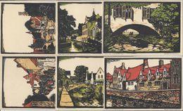 BELGIQUE BRUGES BRUGGE 6 GRAVURES Sur Bois De W. FUNK /FREE SHIPPING REGISTERED - Brugge