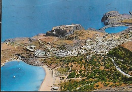 GRECIA - RODI - VEDUTA AEREA DI LINDOS -  VIAGGIATA  1984 FRANCOBOLLO ASPORTATO - Grecia