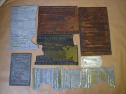 Lot. 876. Huit Anciennes Plaques Publicitaires D'imprimerie Des Engrais Battaille à Basècles. - Instrumentos
