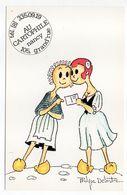 """NANCY--Carte Publicitaire Signée Philippe Delestre """"Au Cartophile"""" 105,Grand'rue  (Marianne En Sabots) - Nancy"""