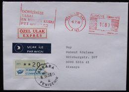 TÜRKEI 1988 Mi-Nr. ATM 1.1 Auf Brief Mit Frühverwendung - 1921-... République