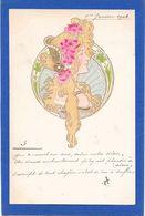 Cpa ART NOUVEAU - Profil Femme Blonde Style MUCHA Dans Médaillon - Tarjetas De Fantasía