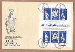 South Georgia 1978 FDC 25th Anniversary Of Coronation Of Queen Elizabeth II Plus MUH Sheetlet - South Georgia