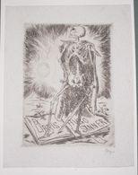Ex-libris Moderne XXème Illustré -  Allemagne - Squelette à L'épée - Avgo SANNER - Ex-libris