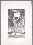 Ex-libris Moderne XXème Illustré -  Allemagne - Homme Nu, Livre Et Oiseau - W. MENDELSSOHN - Ex-libris