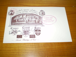 Crest Drôme: Enveloppe Jumelage Cromer Crest Nidda , Signatures Sur Les Blasons Des 3 Villes 1980 - Old Paper