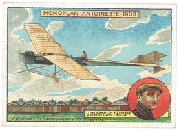 Chromo Chocolat Aiguebelle : Monoplan Antoinette 1909, Aviateur Latham - Aiguebelle