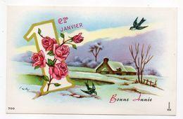Nouvel An - Bonne Année --carte Mignonnette Signée L.G --Paysage De Neige (village, Oiseau,1er Janvier  Et Fleur (roses) - New Year