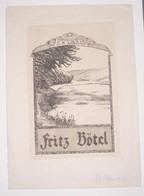 Ex-libris Moderne XXème Illustré -  Allemagne - Paysage - Fritz Bötel - Ex Libris