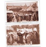 2 Photos Originales BRETAGNE FINISTERE 1929 Quimperlé Foire De Pâques Manèges Folklore Fête Foraine - Lieux