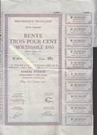 République Française - Rente Trois Pour Cent 1945 - Lot De 2 - Rente 30 Francs - Décret 1945 Au Verso - Shareholdings