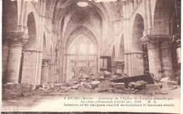 POSTAL  REIMS (MARNE)  -FRANCIA  - INTERIEUR DE L'EGLISE ST. JACQUES DÉMOLIE PSAR LES OBUS ALLEMANDS CLICHE DEC.1918 M.D - Reims