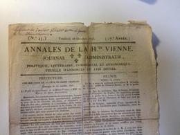 ANNALES De La Hte VIENNE , 1825, Journal Administratif, Littéraire,  Commercial ...... - Journaux - Quotidiens