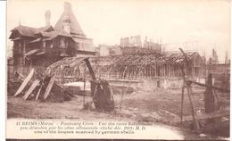 POSTAL  REIMS (MARNE)  -FRANCIA -FAUBOURG-CÉRÈS-UNES DES RARES HABITATIONS DEMOLIES PAR  OBUS ALLEM.1918 - Reims