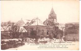 POSTAL  LES MENEUX (MARNE)  -FRANCIA -L'EGLISE BOMBARDÉE PAR LES OBUS ALLEMANDS CLICHÉ DEC.1918 - Otros Municipios