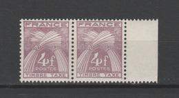 "FRANCE / 1946-1955 / Y&T TAXE N° 84 ** : Gerbes ""Timbre-Taxe"" 4F (x 2 En Paire) - Gomme D'origine Intacte - Taxes"