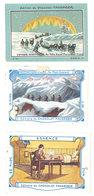 Lot 3 Chromos Chocolat Faverger : Essence (lumière), Mont Everest (pli), Pôle Nord, Voyage Scientifique - Chocolat