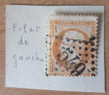 Timbre Napoléon 40c N°23 Variété Filet De Gauche Absent + Piquage Décalé - Oblitéré GC 549 - 1862 Napoleon III