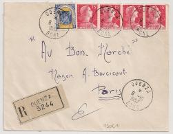 OUENZA BONE Algérie. Enveloppe Recommandée Au Tarif à 65F Pour PARIS.Origine : Mines De L'Ouenza. - Lettres & Documents