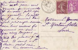 CARTE. 5 8 37. RECETTE-DISTRIBUTION. RHONE COGNY - Postmark Collection (Covers)