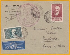 1939 - Enveloppe Par Avion De Montpellier Vers Puyloubier, BdR - Cad Arrivée  Cercle Plein Et Cercle à Tirets - Poste Aérienne