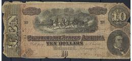Etats Unie 10 Dollars ( Ten Dollars ) Dans L'état Pour Référencement - Confederate Currency (1861-1864)