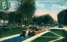 """CHALON SUR MARNE Lot De 4 Cartes """"L'écluse Et L'Ile, Les Cygnes Du Jard,le Pont Des Mariniers Et Vue Générale - Châlons-sur-Marne"""