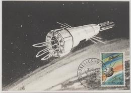 Belgique Carte Maximum 1966 Fusée Et Satellite 1380 - Maximumkarten (MC)