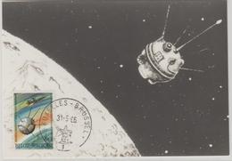 Belgique Carte Maximum 1966 Fusée Et Satellite 1380 - Cartoline Maximum