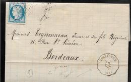 COLLIOURE Pyrénées Orientales CONVOYEUR STATION Ligne CERBERE à PERPIGNAN 2° N° De Département Mal Centré 1874 ....G - Poststempel (Briefe)