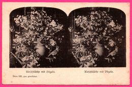 Carte Double Vues - Kirschblüthe Mit Dögeln - Fleur De Cerisier Avec Oiseaux - DESS 525 - Blumen