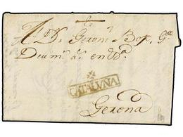 1 ESPAÑA: PREFILATELIA. 1757. FIGUERAS A GERONA. Marca<B> */CATALUÑA</B> (nº 7). RARÍSIMA Y De Excepcional Calidad. - Timbres
