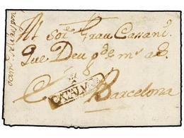 2 ESPAÑA: PREFILATELIA. 1773. LLIVIA A BARCELONA. Marca<B> +/CATALUÑA</B> (nº 2) En Tinta De Escribir De La SEO DE URGEL - Timbres