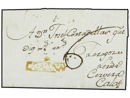 4 ESPAÑA: PREFILATELIA. 1792. HORTA (Tarragona) A CALAF. Marca<B> */CATALUÑA</B> (nº 1) En Tinta De Escribir. Rara Con E - Timbres