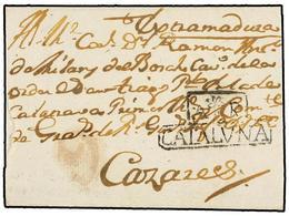 8 ESPAÑA: PREFILATELIA. (1800 CA.). Envuelta Sin Origen Ni Fecha Dirigida A CÁCERES. Marca <B>AR/CATALUÑA</B> De ARENYS  - Timbres