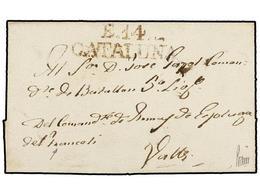 12 ESPAÑA: PREFILATELIA. (1830 CA,). ESPLUGA DE FRANCOLI A VALLS. Envuelta Remite Manuscrito En El Anverso Y Marca<B> E. - Timbres