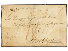 13 ESPAÑA: PREFILATELIA. (1830 CA.). TARRAGONA A STOCKHOLM (Suecia). Envuelta, Marca Al Dorso De La Embajada Sueca De Ta - Timbres